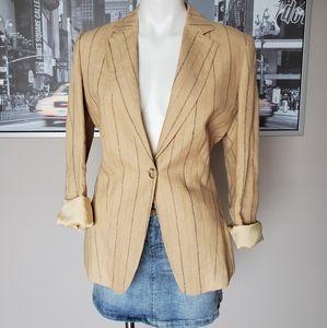 Linen Blend pin stripe fully lined Blazer Jacket